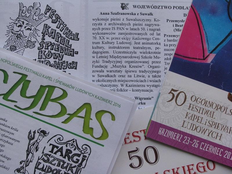 Zestaw wydawnictw kazimierskiego festiwalu 2016.